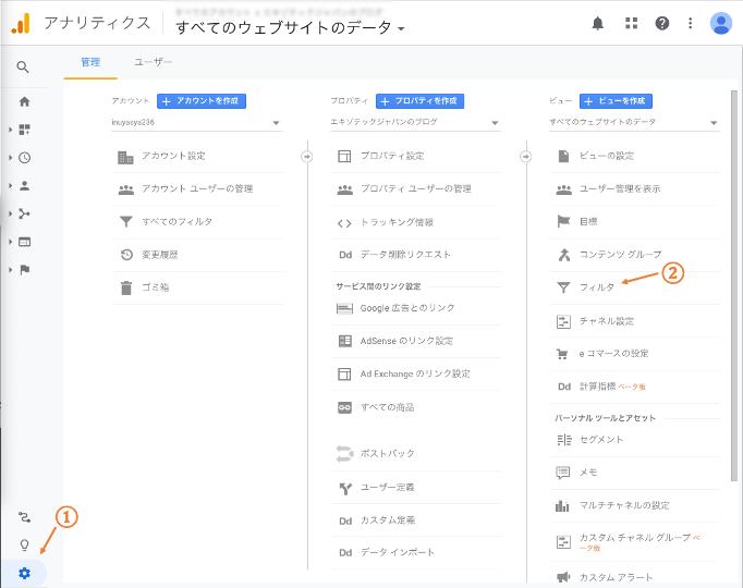 Googleアナリティクス 管理
